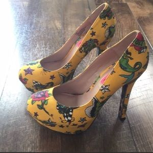 Betsey Johnson Yellow Tattoo Heels